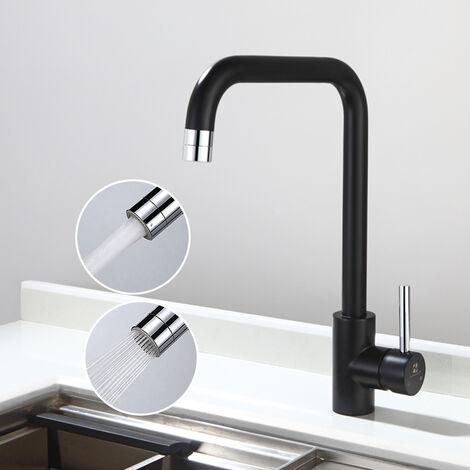 Mitigeur Cuisine en Forme 7 Robinet d'évier Noir Mousseur avec Deux Fonction Mitigeur en Acier Inxo Tube 360°Rotatif Design Moderne