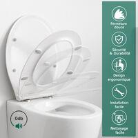 Abattant WC Frein de Chute Lunette de Toilette Forme O Abattant Toilette Dégagement Rapide Abattant pour WC Charnière Réglable