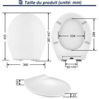 Abattant WC Frein de Chute Abattant Adulte pour WC Blanc Abattant Toilette en UF Lunette de Toilettes Forme de O