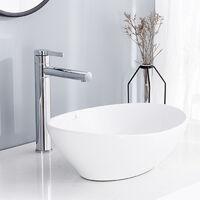 Ensemble Vasque pour salle de bain et robinet de salle de bain haut?Lavabo Vasque en Céramique Blanc Vasque à Poser Ovale avec Bonde Siphon Lave Main Haut de Gamme Mitigeur de Lavabo