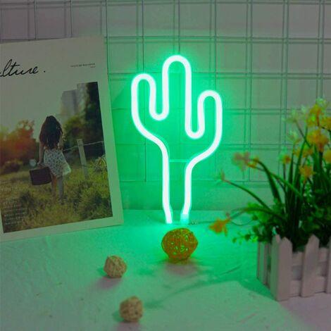 LED verte Cactus LED néon Neon Light batterie Se connecter ou Alimenté par USB Wall Light Neon Neon Lamp Décor Night Lights pour les enfants Cadeaux Enfants Chambre Maison Décoration d'intérieur nuit