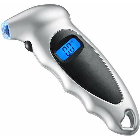 Manomètre Pression Numérique 10 Bar, Jauge de Pression des Pneus Digital Voiture, Vélo, VTT, Moto