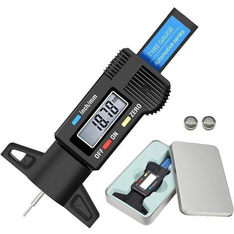 Jauge de Profondeur Numérique de Pneu-Jauge de Profondeur de Bande de Roulement de Pneu-Gauge LCD Metrique/Pouce 0-25.4mm avec Boîte de Fer & Batterie de Secours pour Auto Moto Vans Camions