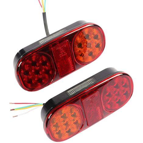 2pcs Universel Feux Arrières De Remorque LED Éclairage Feu De Camion Lampe De Freinage 12v Imperméable Arrêter L'éclairage pour Camion Remorque Caravane Van Ou Tracteur (14 led chips-2pcs)