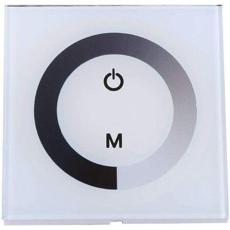 Panneau contrôleur mural tactile LED DC 12-24V avec Commutateur gradateur de changement de luminosité pour réglage lumières (Couleur : Blanc)