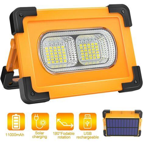Projecteur LED Rechargeable Lampe Chantier 80W 4000 Lumens Projecteur Portable avec Pannea Solaire 4 Modes Super Brillant Lampe de Travail avec Batterie 11000mAh pour Camping, Bricolage