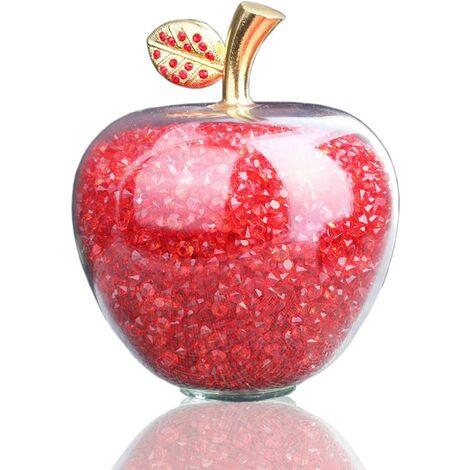 Cristal Rouge Apple sculpté Figurine Statue en Alliage Feuille Guérison Pierre Home Décoration de Mariage de Vacances, Garni de Strass