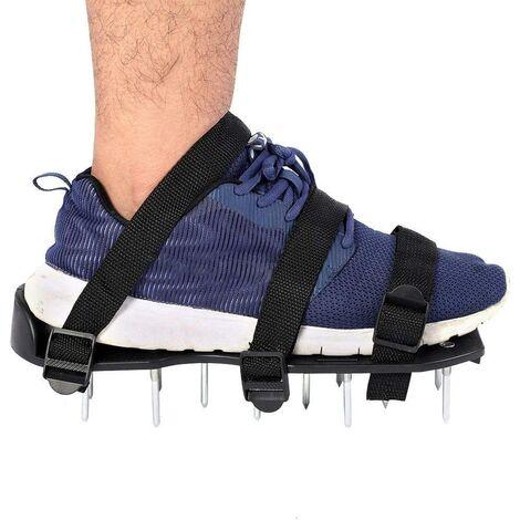 Aérateur de pelouse, 1 paire de chaussures à ongles scarificateur avec sangles réglables Chaussures à pointes de taille universelle pour pelouse (3 sangles)