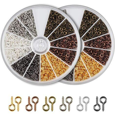 Vis à Oeillets 1200pcs Oeillets à Visser Crochets à Visser Tige à Vis Vis à Oeil en Métal Crochets de Plafond à Visser pour Création de Bijoux Bricolage Artisanat Perles, 6 Couleurs, 8mm*4mm