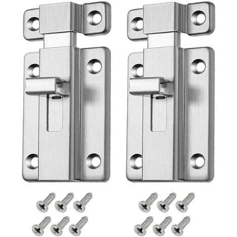 2pcs Loquet Verrou Porte en Acier Inoxydable avec VIs de Fixation Targette de porte pour Chambre Bain Toilette Meuble Fenêtre