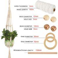 Corde en Macramé, 3mm x 100m Corde en Coton avec Perles en Bois, Anneaux en Bois, Bâtons en Bois pour Tricotage pour Hanging Plant DIY Décoration Marque : OIZEN