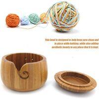 Fil à bol en bois avec trous design pour le tricot et le crochet - Fil Bowl en Bambou dur fait main avec couvercle pour le stockage de Pelote de laine - 6 x 6 x 4.3 inch