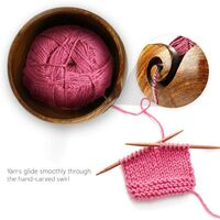 Fil à Bol en Bois avec Trous Design pour Le Tricot et Le Crochet - Fil Bowl en Bois Franc Dur Fait Main avec Couvercle pour Le Stockage de Pelote de Laine - 6.3 x 6.3 x 3.3 inch #1