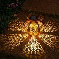 Lanterne Solaire Jardin Décoration Extérieur Étanche Luminaire Solaire Patio Décoratif Métal Lampe de Patio pour Pelouse Patio Fête Décorations (A)