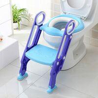 Siège de Toilette Enfant Pliable et Réglable, Reducteur de Toilette Bébé avec Marches Larges, Lunette de Toilette Confortable Matériaux de Haute Qualité (Bleu)