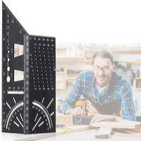 Règle d'angle d'onglet 3D, outils de travail du bois multifonctions mesure rapporteur de pochoir professionnel en alliage d'aluminium dur pour les ingénieurs charpentiers