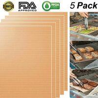 5 Tapis de Cuisson pour Barbecue, Grill, Barbecue à gaz, Charbon de Bois, Barbecue électrique, 100% antiadhésif Tapis de Cuisson en Silicone FDA PFOA 400 x 330 mm