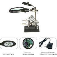 2.5X 7.5X 10X Loupe sur Pied avec LED Lumières, Lampe de Bureau Type, Support Auxiliaire & Clamps de Support & Clips d'Alligator