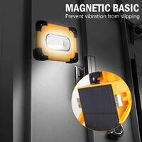 Projecteur LED Rechargeable Projecteur Chantier 60W 3000 Lumens Lumière de Travail avec Batterie 9000mAh & Pannea Solaire 4 Modes Lanterne Portable Projecteur Extérieur pour Camping, Bricolage