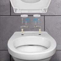 Abattant WC, HIMIMI Lunette de Toilette avec Fermeture en Douceur, Frein de Chute, Dégagement Rapide à Un Bouton et Charnière Réglable, Abattant WC en Forme de O (440 x 375 x 54 mm)