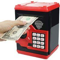 Tirelire électronique avec Automatique Argent Faire défiler, Mini ATM Coffre-Fort,Économiser de l'argent Jouet pour Les Enfants, Anniversaire Cadeau de Noël pour garçons et Filles (Rouge)