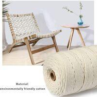 Corde Coton Naturelle 3mm x 200m, Rouleau de Cordon de Macramé pour Artisanat DIY Bricolage Décoration Jardinaget (Beige, 3mm x 200m)