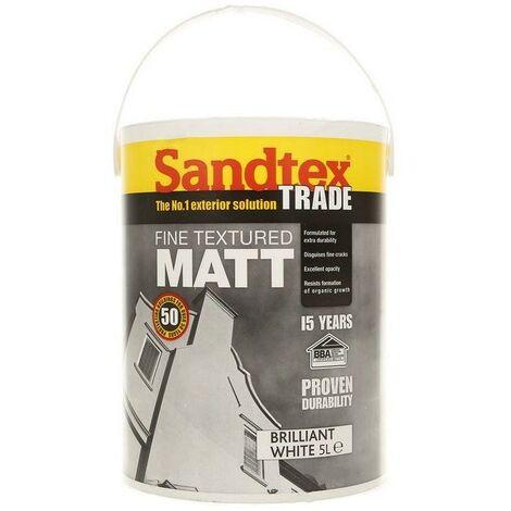 Sandtex Fine Textured Masonry Paint - Brilliant white - 5L