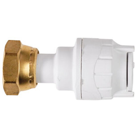 """Oracstar PolyFit 15mm x 1/2"""" White Straight Tap Connector Plumbing Fitting"""