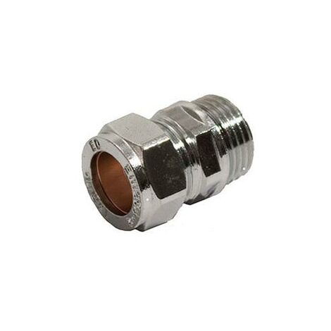 Oracstar 15mm Chrome Straight Compression Coupler - Male For Plumbing