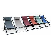 Set mit 2 Sonnenliegen - Gaia grau - Liegestuhl aus anthrazitfarbenem Aluminium und nachtblau Textilene mit Kopfstützenkissen, Liegestuhl