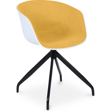 Sedia da ufficio di design imbottita bianca Giallo