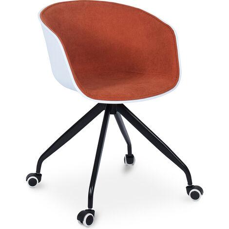 Weiß gepolsterter Bürostuhl mit Rädern Orange