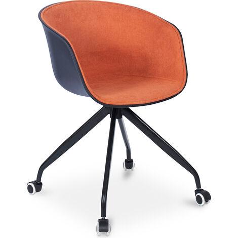 Schwarz gepolsterter Bürostuhl mit Rädern Orange