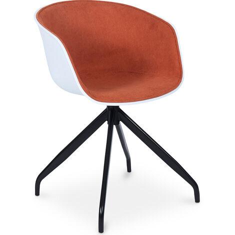 Design Weiß gepolsterter Bürostuhl Orange