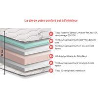Matelas Mousse 140x190 cm - 16 cm d'épaisseur - 7 zones confort, Tessuto Strech LOVAT
