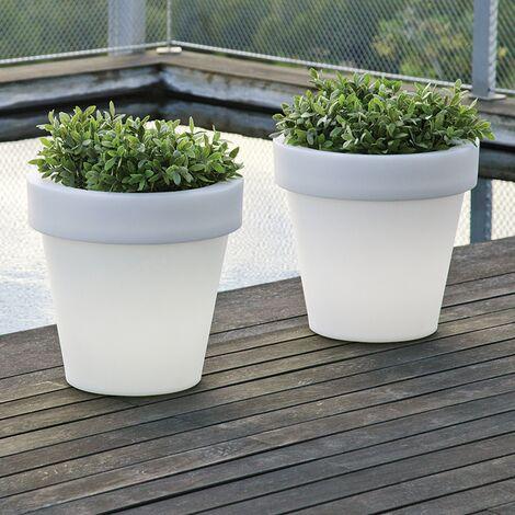 Pot de fleurs lumineux MOOVERE 90 Solaire+Batterie rechargeable