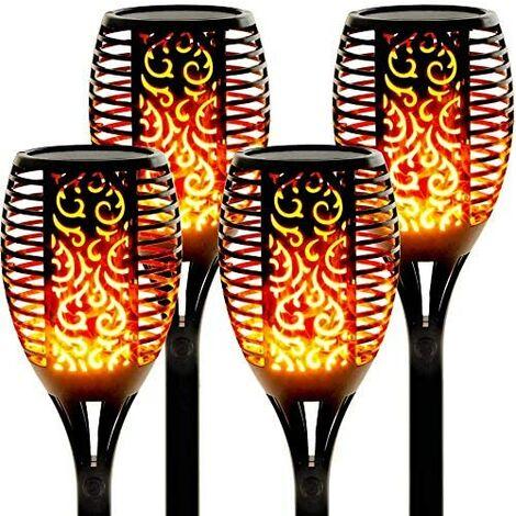 Solarlicht Metall Anteil LED Garten Fackel Flamme Knistern Effekt Licht Außen