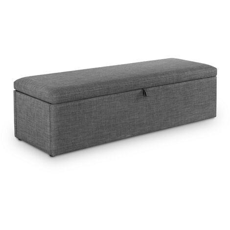 Marietta Upholstered Bedroom Bedding Blanket Box Grey Linen