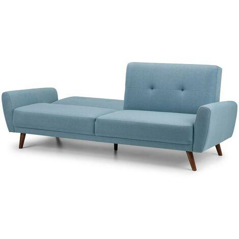 Orpha Retro Scandi Style 3 Seater Compact Retro Sofa Bed Blue Linen