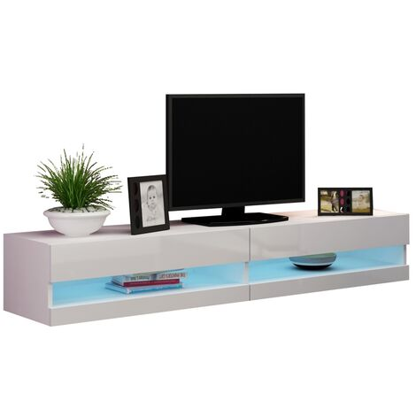 Caspian White High Gloss TV Stand Cabinet RGB LED Lights | Floating Wall Unit - 180cm