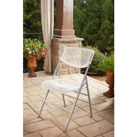 COSCO Ultra Comfort Plastic Folding Garden Chair Commercial XL White 2 Pack