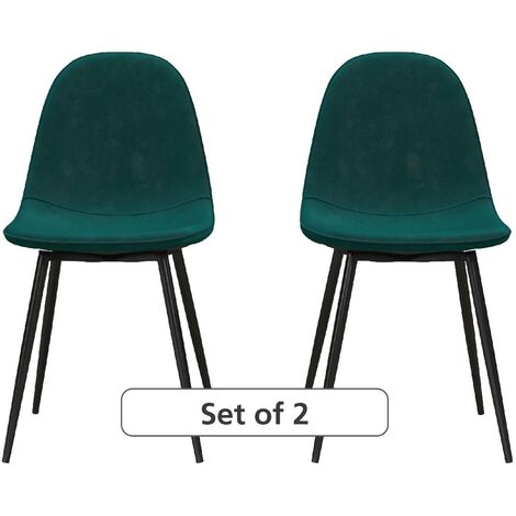 Calvin Upholstered Kitchen Dining Room Chairs - Set of 2 Green