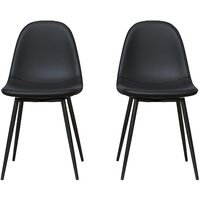 Calvin Upholstered Kitchen Dining Room Chairs - Set of 2 Black