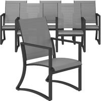 COSCO Outdoor Furniture Capitol Hill Patio Dining Chairs Charcoal Grey 6 Pack