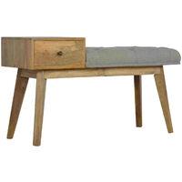 Artisan Furniture Solid Mango Wood Telephone Bench Multi Tweed Seat