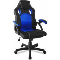 Mc Haus - Sedia da ufficio gaming ergonomica sedia gaming design sportivo tessuto 3D Racing X Blu