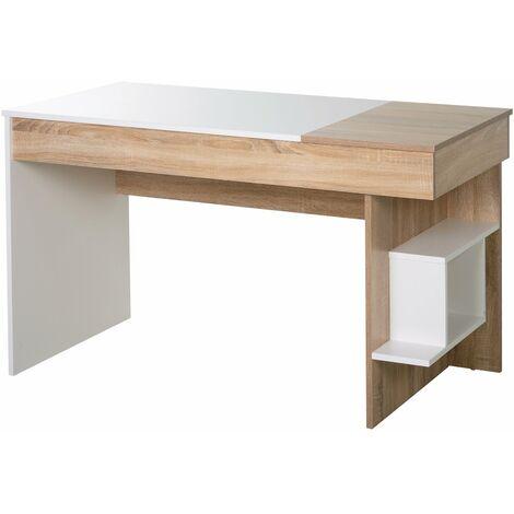 Homcom Scrivania moderna Salvaspazio con Piano Sollevabile in Legno, Bianco, 120x60x74cm