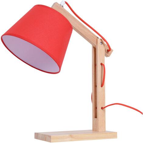 Homcom Lampada Da Tavolo Con Braccio Regolabile In Rovere E Paralume Rosso