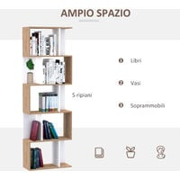 Homcom Libreria da Muro Moderna 5 Ripiani in Legno Bianco, 60x24x184.5cm