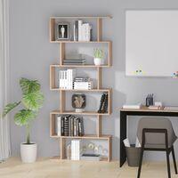 Homcom Libreria Design Moderno in Legno con 6 Ripiani, Legno Naturale, 80x23x192cm